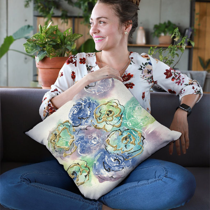 Gold Edged Roses I Throw Pillow By Chris Paschke