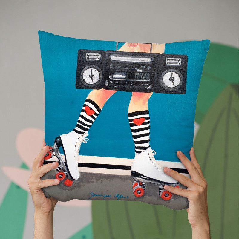 Roller Girl Throw Pillow By Dominique Steffens
