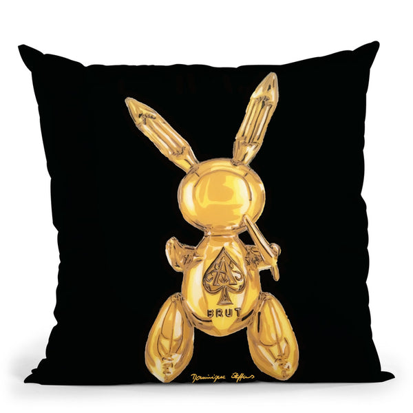 Golden Party Rabbit Throw Pillow By Dominique Steffens