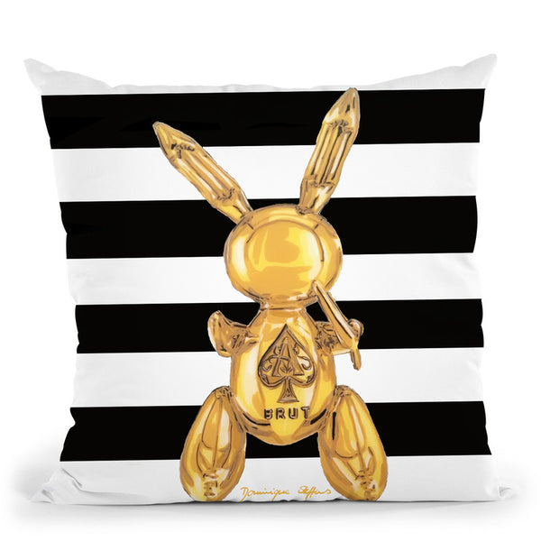 Golden Party Rabbit Striped Throw Pillow By Dominique Steffens