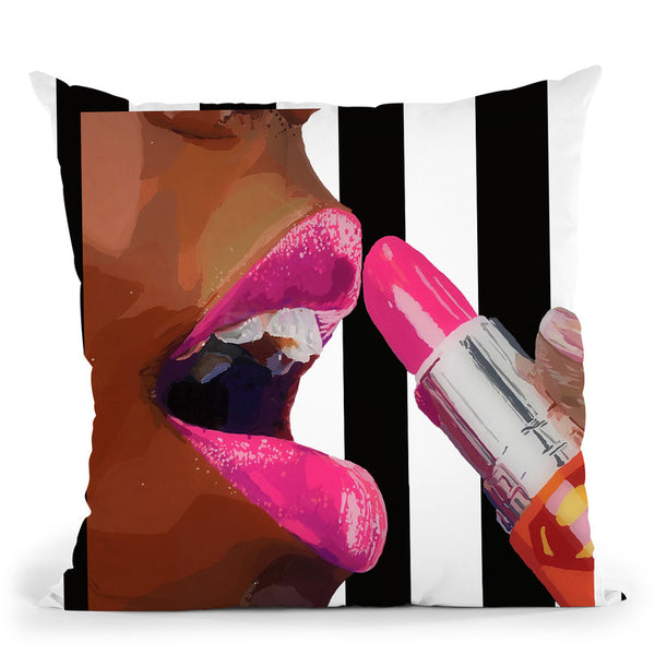 Hot Pink Lips Throw Pillow By Dominique Steffens