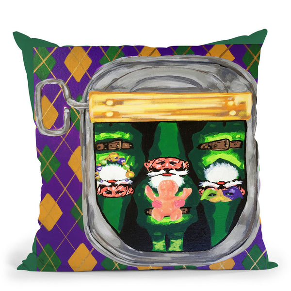 Mardi Gras Gnomes Throw Pillow By Dominique Steffens