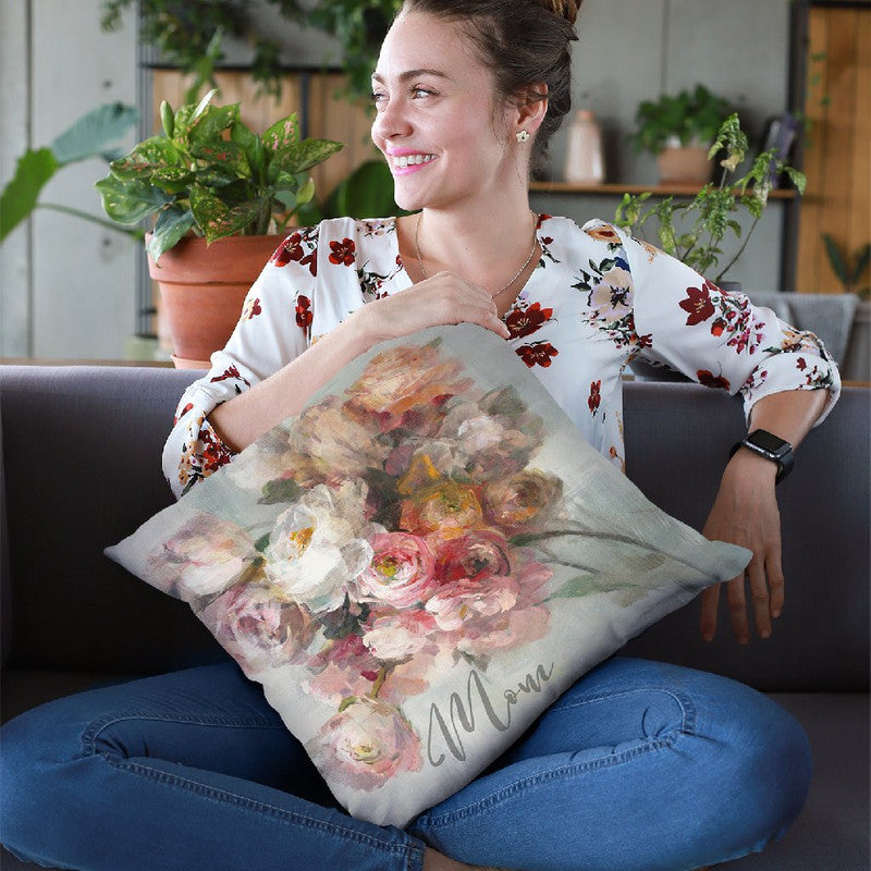 Blush Bouquet Mom Throw Pillow By Danhui