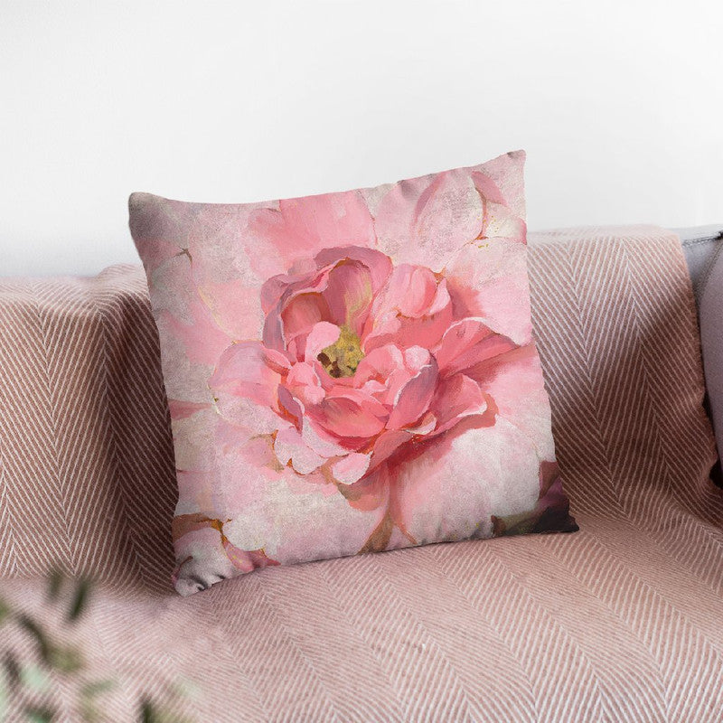 Blushing Metallic Peony Throw Pillow By Danhui