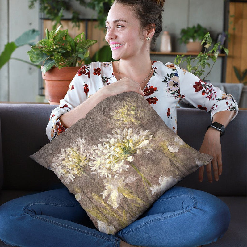 Spring Blossoms Neutral Iv Throw Pillow By Danhui