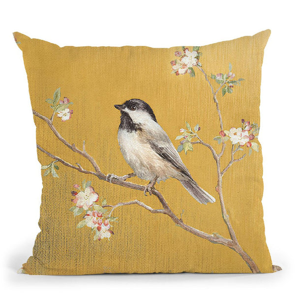 Black Capped Chickadee On Gold Throw Pillow By Danhui
