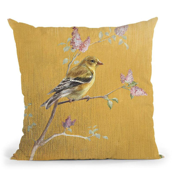 Unisex Goldfinch On Gold Throw Pillow By Danhui