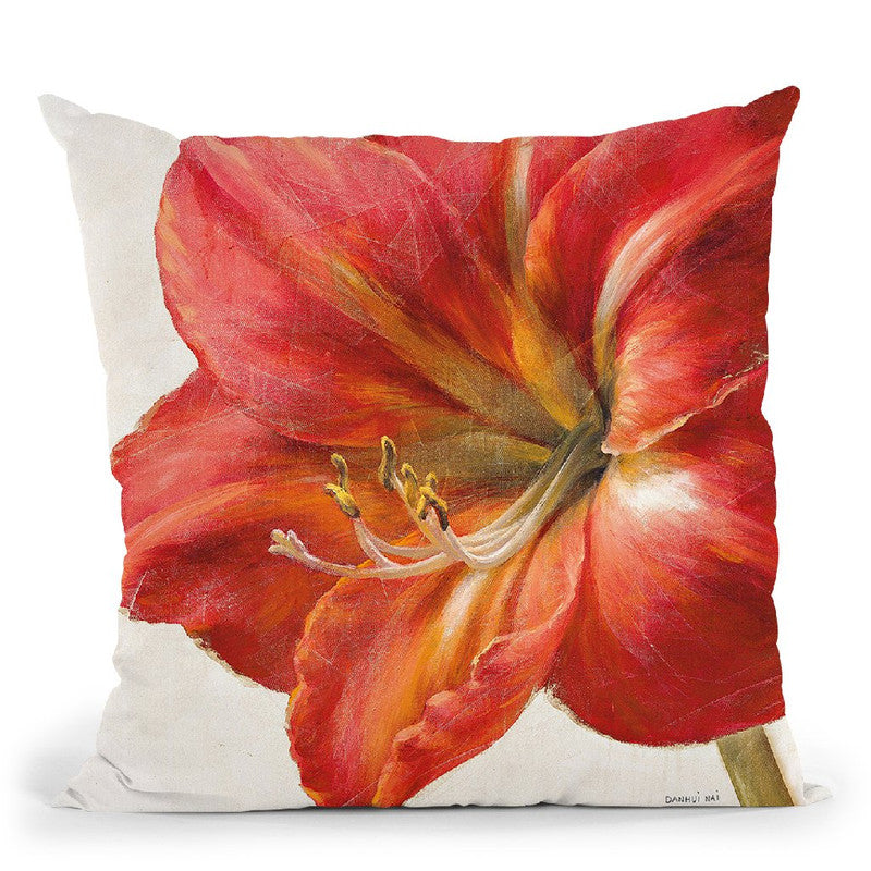 Vivid Amaryllis Throw Pillow By Danhui