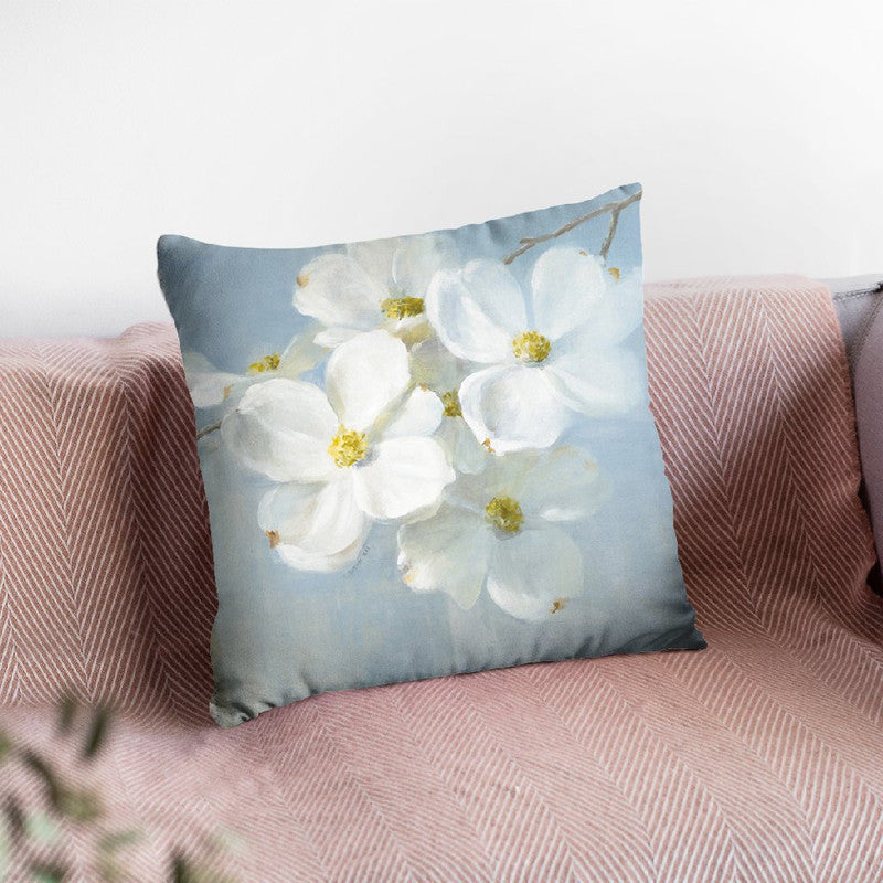 Blossoms On Blue Ii Throw Pillow By Danhui