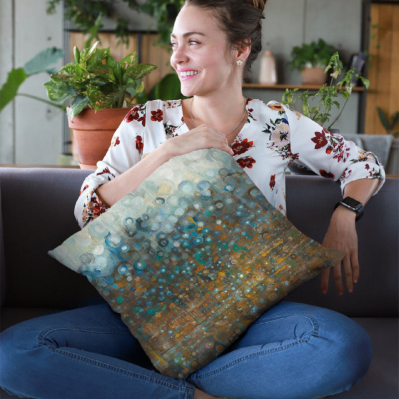 Blue And Bronze Dots Throw Pillow By Danhui