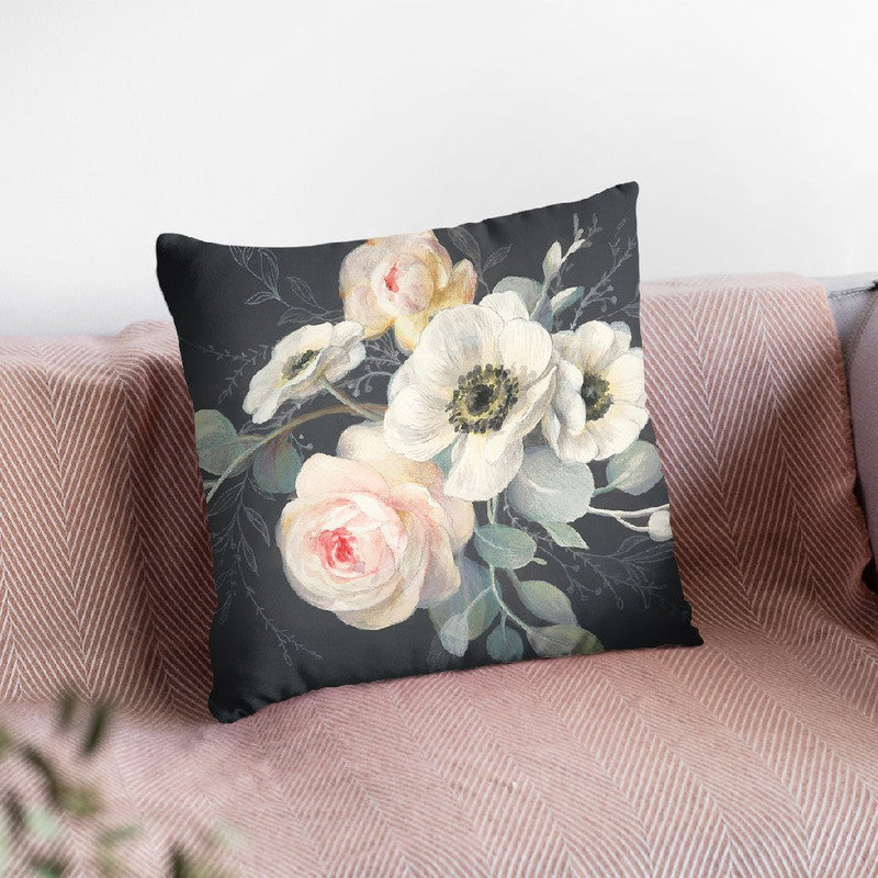 Roses And Anemones Solid Gray Throw Pillow By Danhui