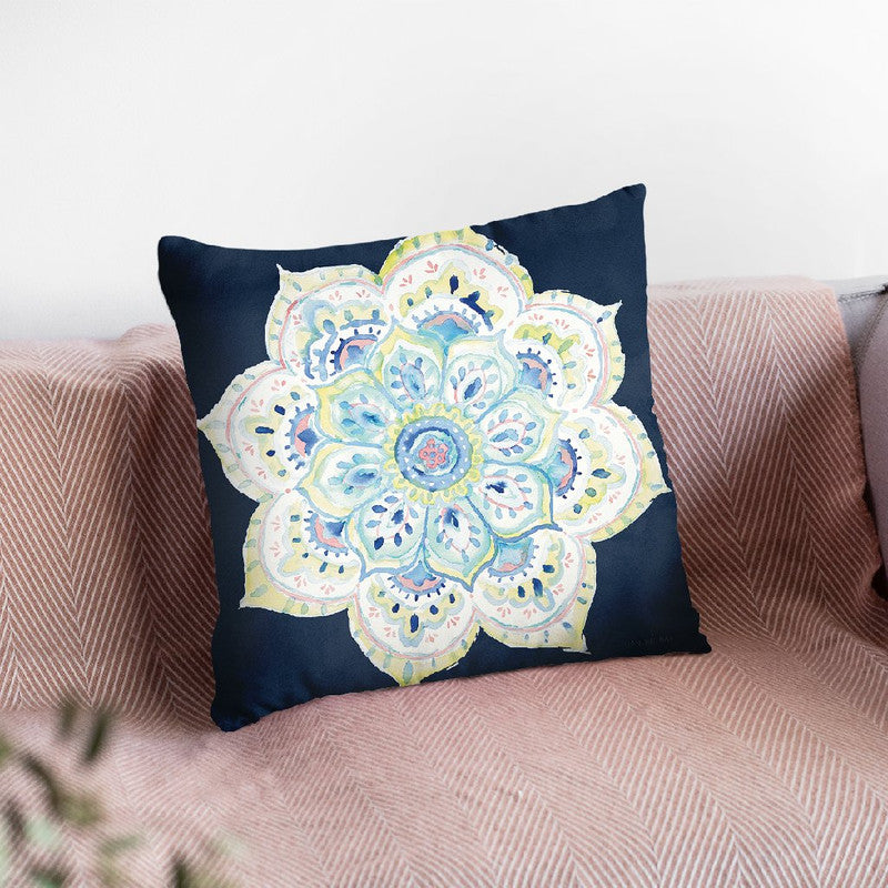 Jaipur Vi Navy Throw Pillow By Danhui