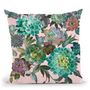 Floral Succulents V2 On Pink Throw Pillow By Danhui