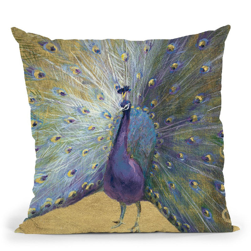 Purple And Gold Peacock Throw Pillow By Danhui