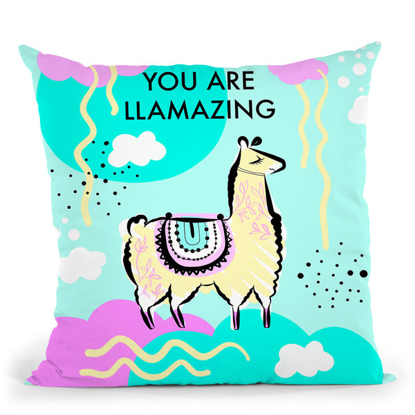 Llama Square You Llamazing Throw Pillow By Dom Vari