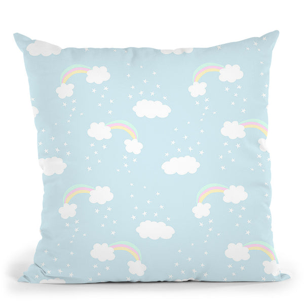 Unicorn Clouds Rainbows Pattern Throw Pillow By Dom Vari