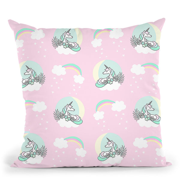 Unicorn Moon Pattern Pink Throw Pillow By Dom Vari