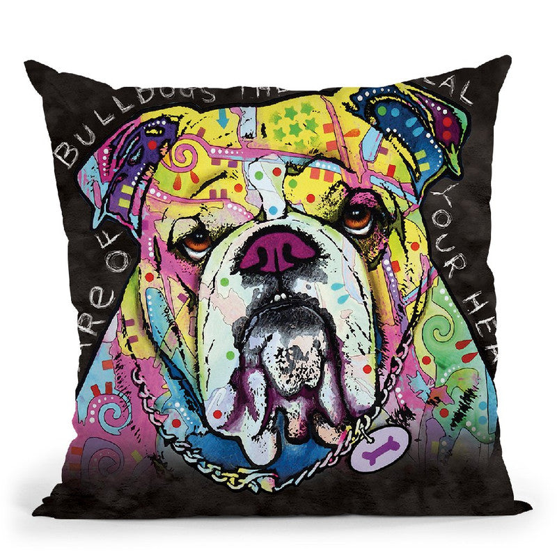 English Bulldog Square Throw Pillow By Dean Russo