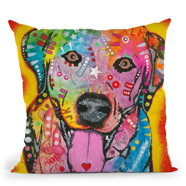 Labrador Square Throw Pillow By Dean Russo