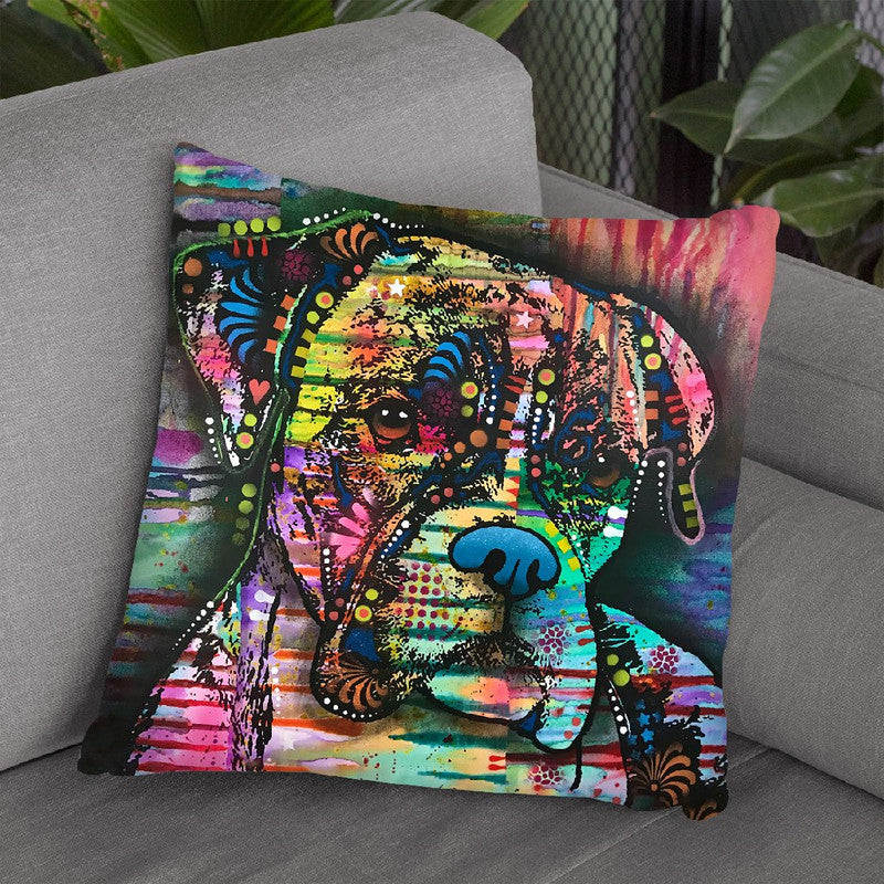 A Serious Boxer Throw Pillow By Dean Russo