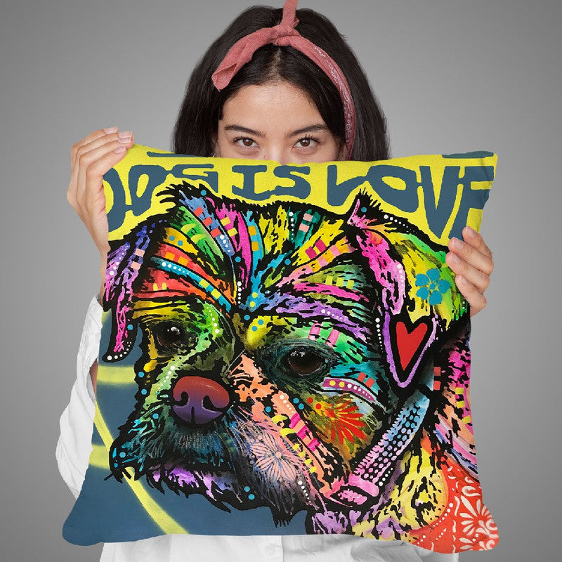 Dog Is Love (Heart) Throw Pillow By Dean Russo