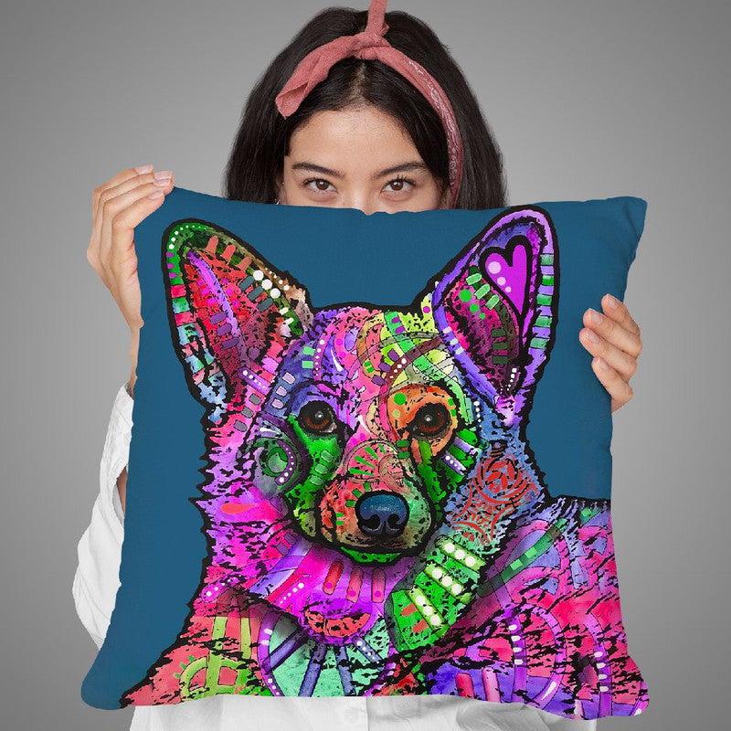 Indelible Corgi Throw Pillow By Dean Russo
