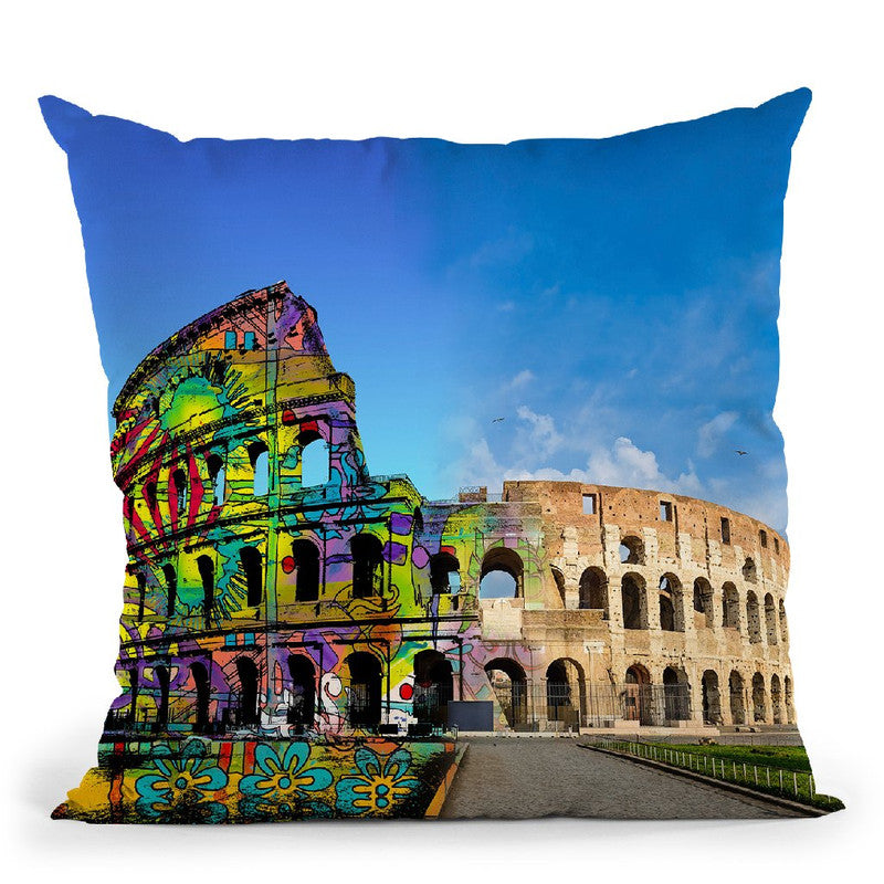 Colosseum Exposed Throw Pillow By Dean Russo