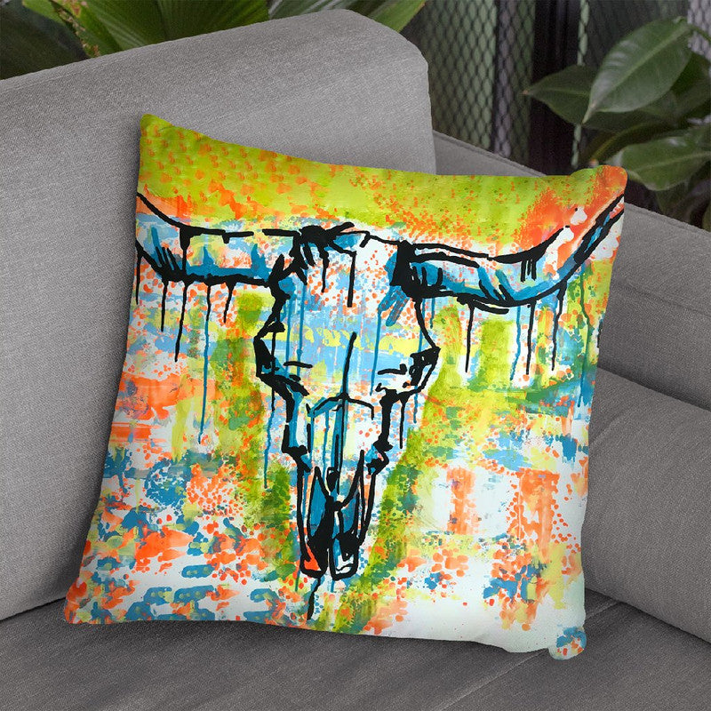 Bull Skull Throw Pillow By Dean Russo