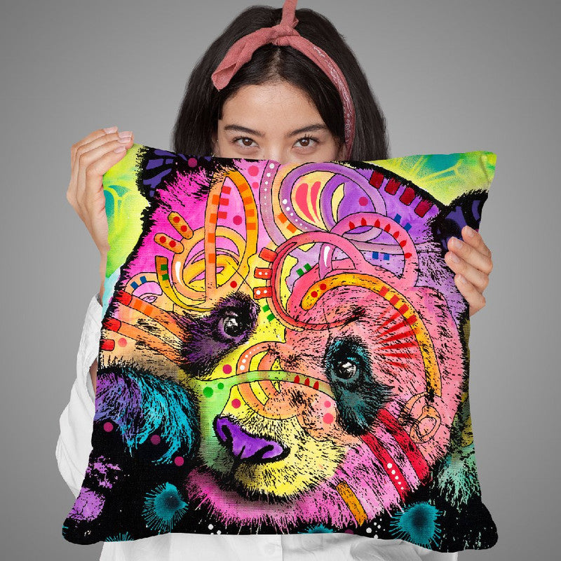 Psychedelic Panda Throw Pillow By Dean Russo