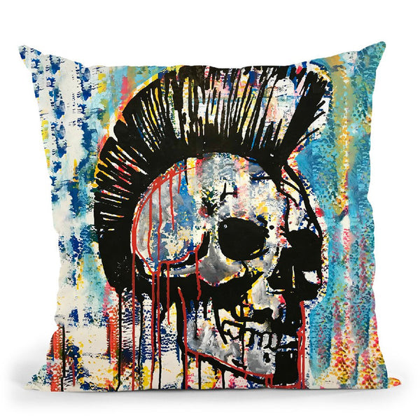 Punk Skull Throw Pillow By Dean Russo
