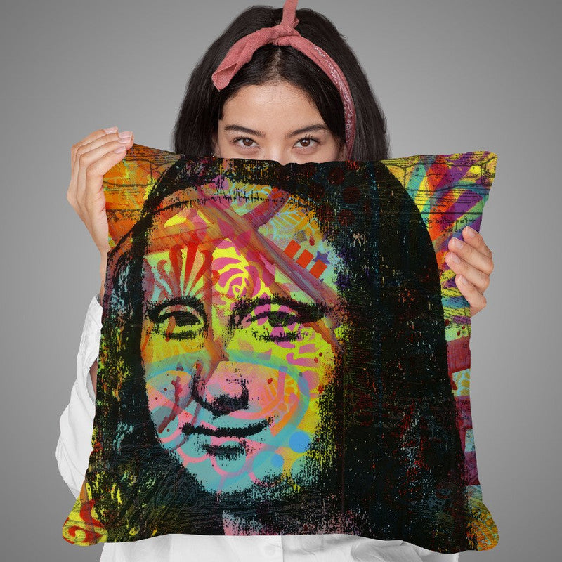 Mona'S Portrait Throw Pillow By Dean Russo