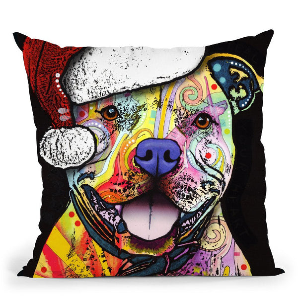Beware Of Pit Bulls Christmas Edition Throw Pillow By Dean Russo
