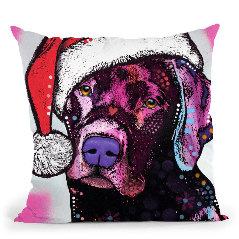 Black Lab Christmas Throw Pillow By Dean Russo