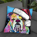 The Bulldog Christmas Throw Pillow By Dean Russo