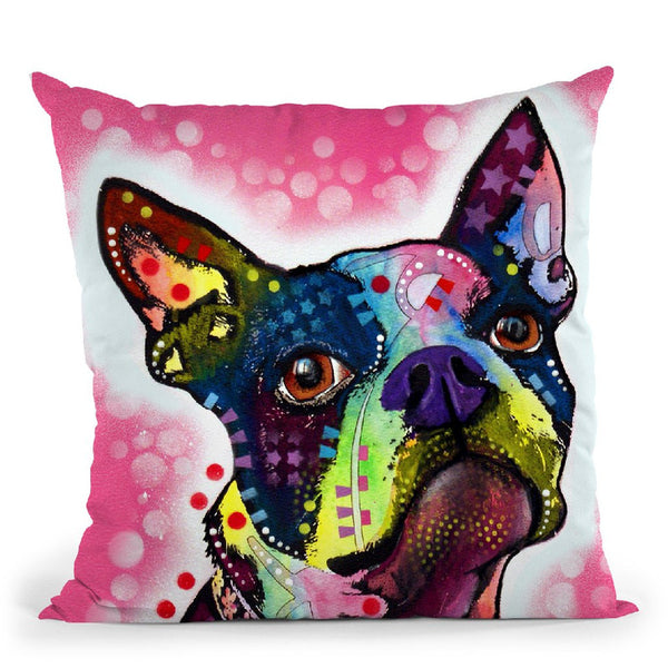 Boston Terrier Square Throw Pillow By Dean Russo
