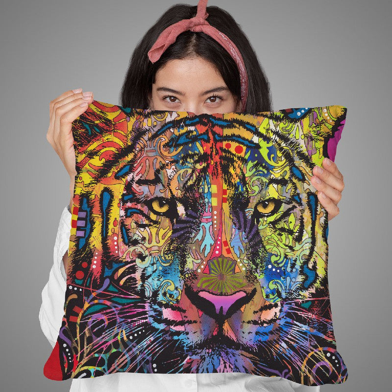 Regal (Tiger) Throw Pillow By Dean Russo