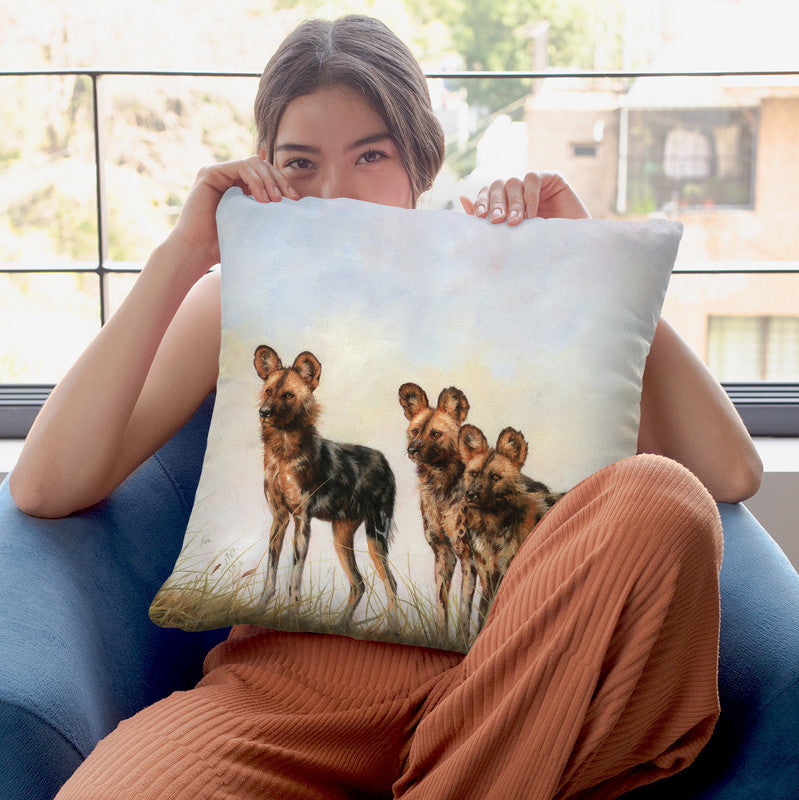 3 African Wild Dogs Throw Pillow By David Stribbling