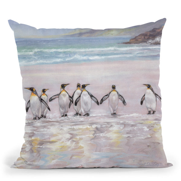 7 Penguins Throw Pillow By David Stribbling