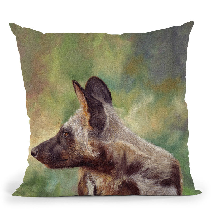 African Wild Dog Throw Pillow By David Stribbling