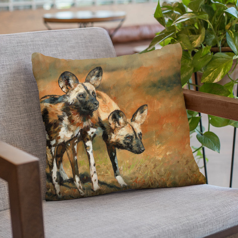 African Wild Dogs Throw Pillow By David Stribbling