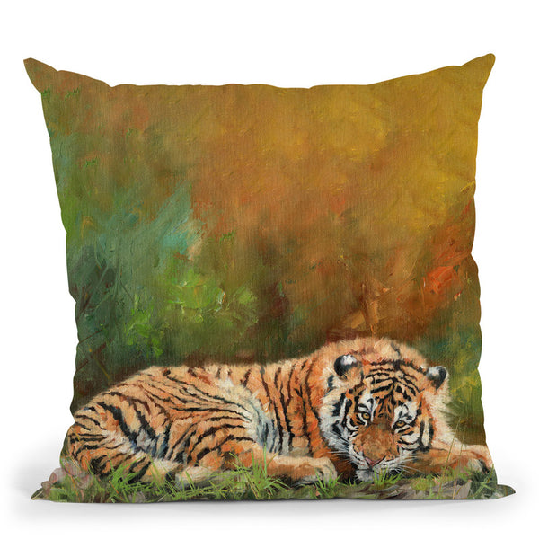 Amur Tiger Laying Down Throw Pillow By David Stribbling
