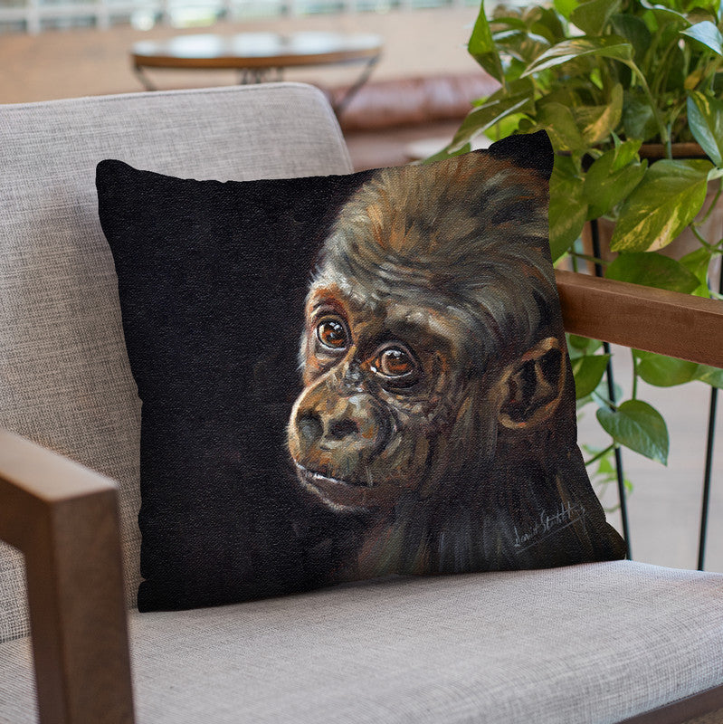 Baby Gorilla Throw Pillow By David Stribbling