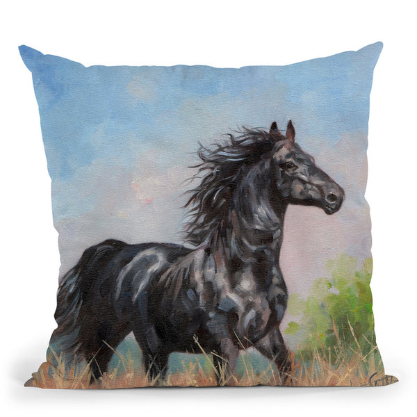 Black Horse Throw Pillow By David Stribbling