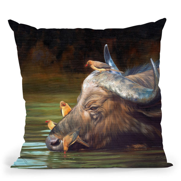 Buffalo And Oxpeckers Throw Pillow By David Stribbling