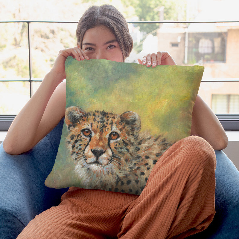 Cheetah Portrait Throw Pillow By David Stribbling