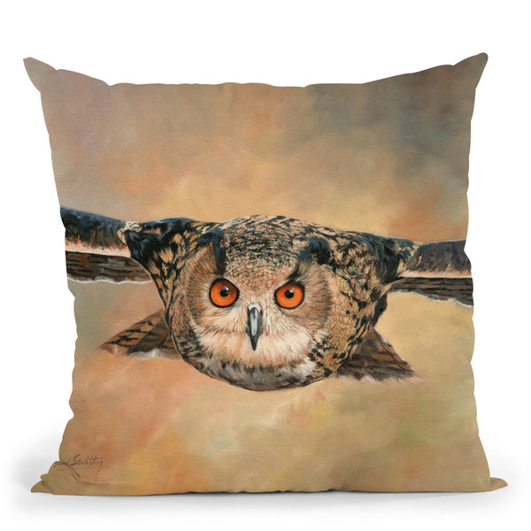 Eagle Owl Throw Pillow By David Stribbling
