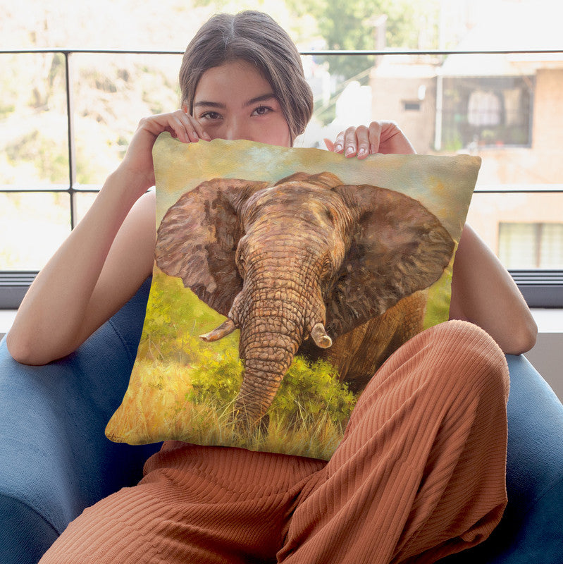 Elephant Throw Pillow By David Stribbling