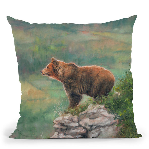 European Brown Bear Throw Pillow By David Stribbling