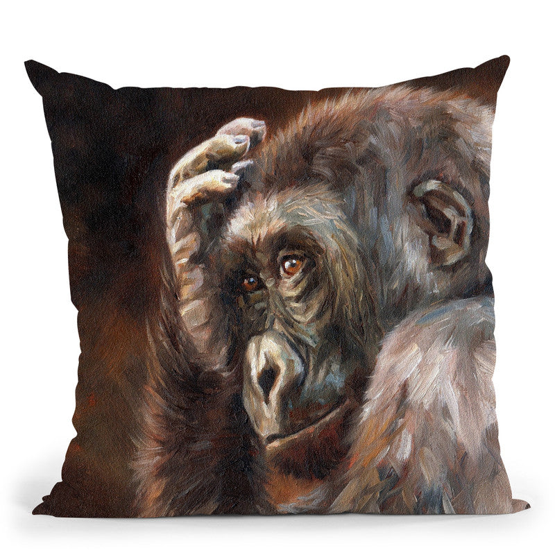 Gorilla Thinking Throw Pillow By David Stribbling