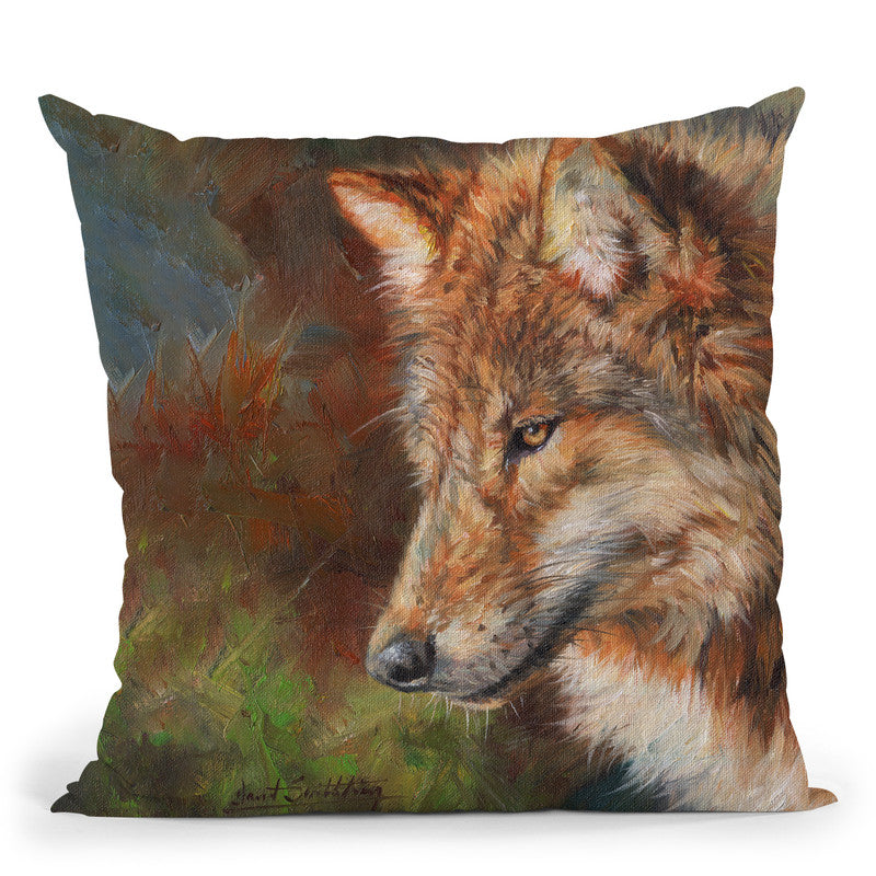 Grey Wolf Face Throw Pillow By David Stribbling